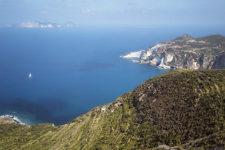 Panorama View of Mediterranean Island Coastline (Ponza, Italy). Long Exposure Photography Technique Stock Photo