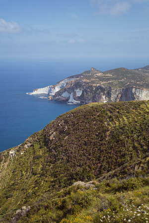 Panorama View of Mediterranean Island Coastline (Ponza, Italy). Long Exposure Photography Technique Stock Photo