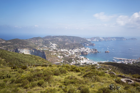 Panorama View of Mediterranean Island Coastline (Ponza, Italy).