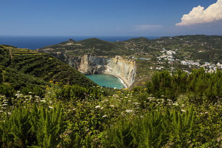 Panorama View of Mediterranean Island Coastline (Ponza, Italy). Beach in the distance Stock Photo