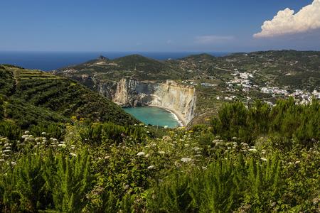 Panorama View of Mediterranean Island Coastline (Ponza, Italy). Beach in the distance Stock Photo - 32986314