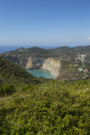 Aerial View of Mediterranean Island Coastline (Ponza, Italy) Stock Photo