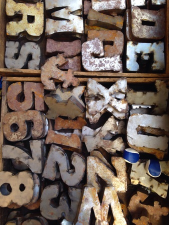Typeset letters for sale at a flea market Stock Photo