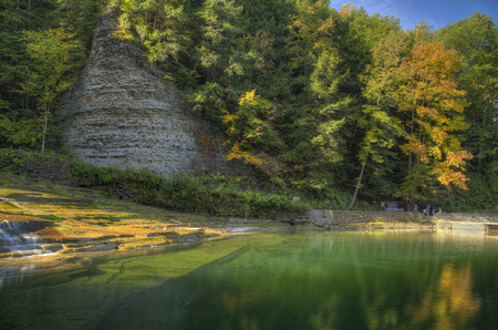 Buttermilk Falls State Park in Ithaca. Part of the Finger Lakes Region of New York State. Early Autumn