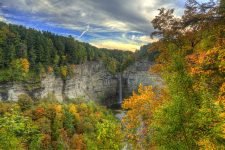 Autumn Scene in Taughannock Falls. Trumansburg, New York. Finger Lakes Region Stock Photo