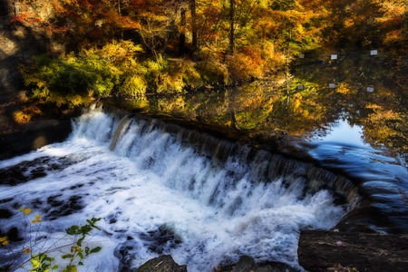 Creek and waterfall surrounded by trees in fall foliage. Filter applied for dramatic effect Stock Photo