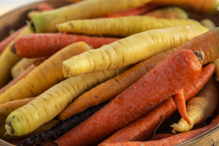 Random Pile of fresh, colorful carrots Stock Photo