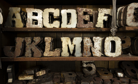 Large metal, rusted, typeface letters on display on shelves