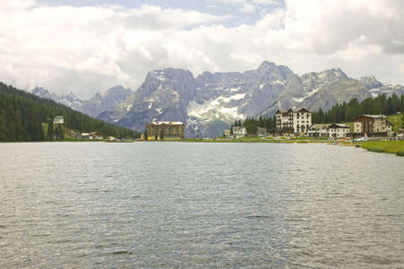lake misurina: Lake Misurina (Italy), in the background snowy mountains