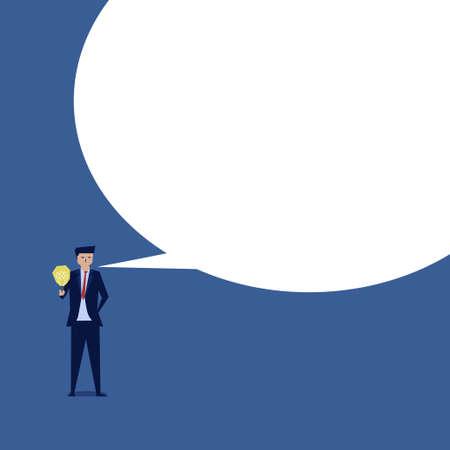 Businessman hold idea and big message bulb on the side. Standard-Bild - 151359993