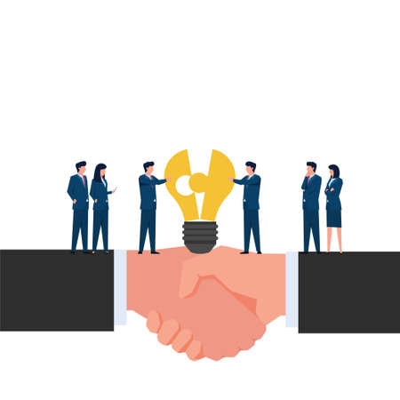 People unite pieces of lamp on handshake hand metaphor of acquisition. Business flat vector concept illustration.