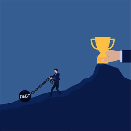 Businessman pull chain ball prisoner debt to get trophy metaphor of lose.