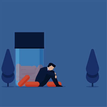 Business flat vector concept man sit pensively beside medicine bottle, metaphor of depression and drugs addicted. 矢量图像