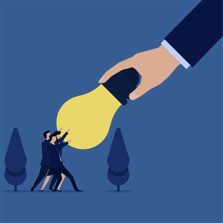 Business team pull idea bulb from being stolen by big hand metaphor of stealing idea. Ilustração Vetorial