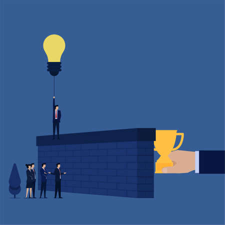 Business flat vector concept businessman fly with balloon idea to pass the wall while other complain metaphor of creative.