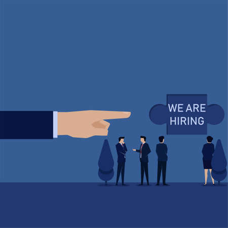 Business hand point to puzzle on wall we are hiring and team discuss. Illustration