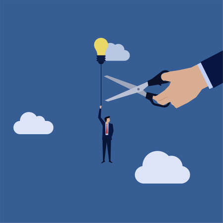 Business hand cut rope of businessman fly with idea balloon metaphor of unfair competition. Vektorgrafik