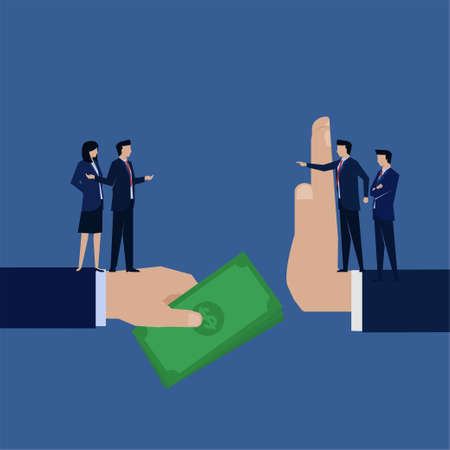 Business flat vector concept businessman corruption give money to manager who refuse.
