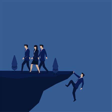 Business flat vector concept businessman struggling to reach the hill metaphor of hard work. Vektorgrafik