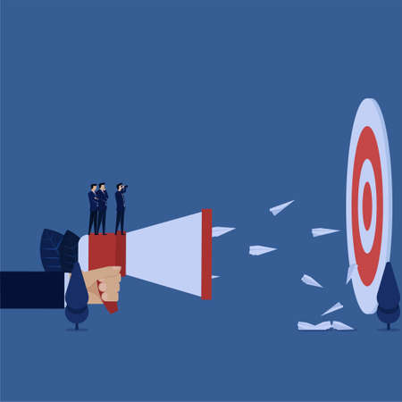 Business manager looking target and send advertising plane metaphor of right target.  イラスト・ベクター素材