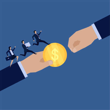 Business flat vector concept hand give coin to other and team run bring papers metaphor of working together. 向量圖像