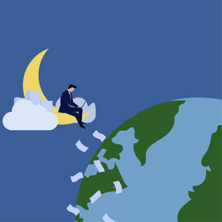 Business flat vector concept man sit and work upon moon and earth metaphor of late night shift.