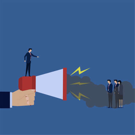 Business flat vector concept manager angry and yelling to team with smoke come out from megaphone metaphor of negative emotion.