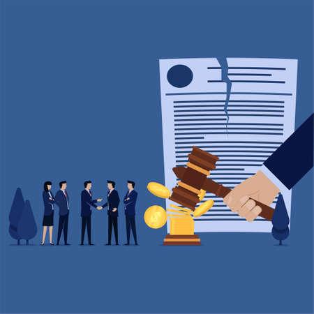 Business team handshake for canceled verdict with money metaphor of corruption.