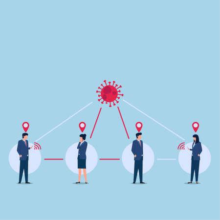 Illustration of tracing location people contact with virus. Ilustración de vector