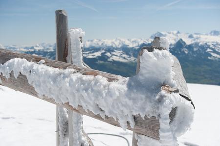 Winter landscape with wooden fence, Zug, Rigi, Switzerland, Europe Imagens