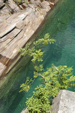 Lavertezzo, Switzerland rocks in the canyon of the Verzasca River. Imagens