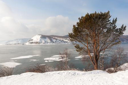 Ice floes on the Baikal lake.