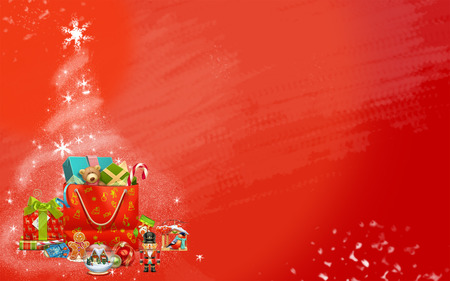 Christmas tree made from stars and colored gifts (red background) photo