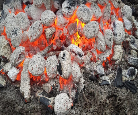 firestorm: Hot burning coal (barbecue)
