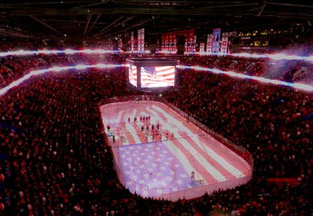 Professional hockey stadium, NHL, arena in game, stadium full of spectators