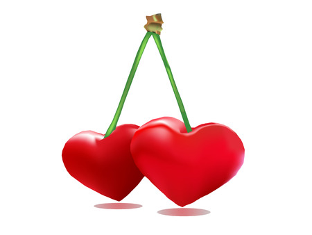Pair of heart - Lovers cherries valentine on white background photo