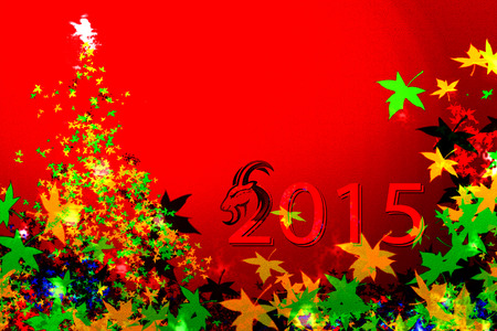 Chinese Year of Goat - Goat head with colorful tree leaves - 2015 written by Goat head photo