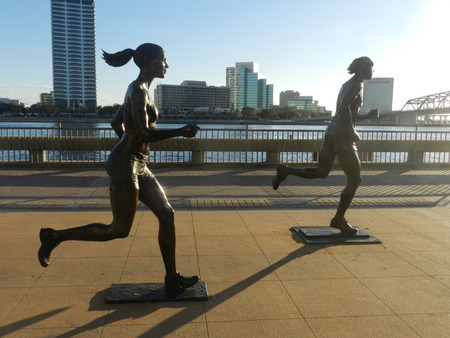 Statue of runners in Downtown 免版税图像