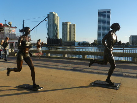 Statue of runners in Downtown Editorial