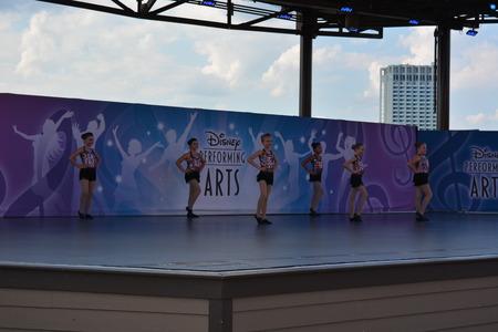 performing arts: Little ballet dancers in uniform on stage. Disney performing arts