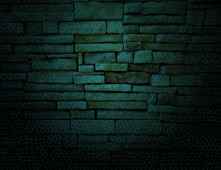 string lights: Green rustic old fashioned brick wall with elegant string lights grid background. Black background.