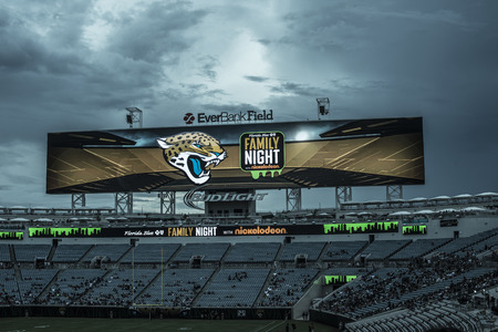 JACKSONVILLE, FL - August 05, 2016: Huge screen in teal sky color. EverBank Field is an American Football Stadium and the home stadium of the Jacksonville Jaguars of the National teal Football League