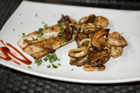 seafood platter: Seafood Platter - Grilled Mahi, Shrimp & Calamari Stock Photo