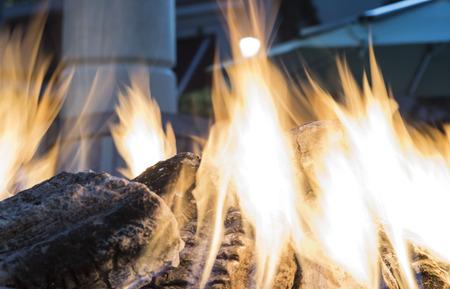 hot fire on fireplace - closeup long exposure