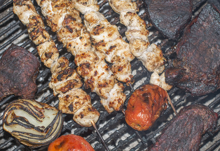 Shish kebab, beef stack meat set and vegetables grill. BBQ Food top view.