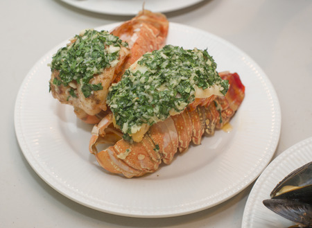 Lobster tail with Garlic Butter dressing 免版税图像
