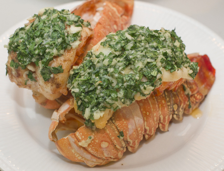 Lobster tails with Garlic Butter dressing 免版税图像