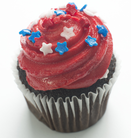 American cupcake celebration isolated on white background
