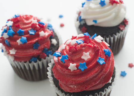 Chocolate cupcakes celebrating America holiday the 4th of July