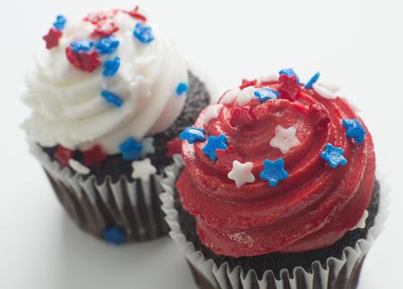 Chocolate cupcakes celebrating America school holidays